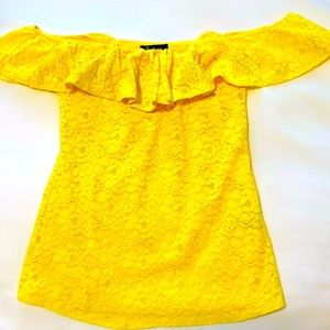 Lemon Yellow Small Lace Off the Shoulder Lined Top